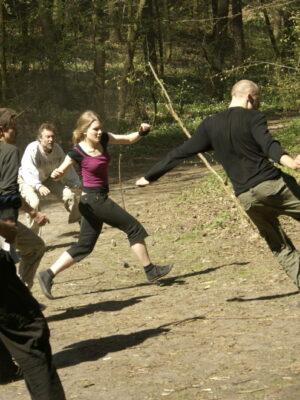 Woodball - trening poranny IX APT, kwiecień 2009. Na zdjęciu: M. Hanusek, K. Mojsak, W. Staniewski, A. Bochnak, B. Hitchins. Fot. A. Mendel